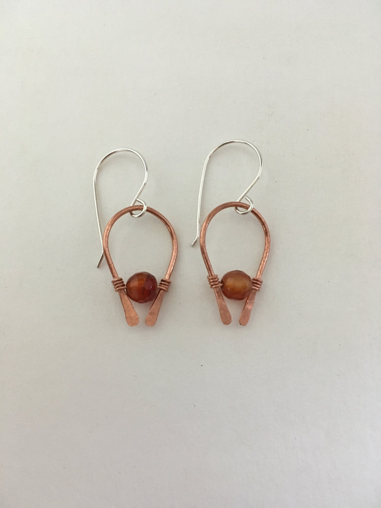 carnelian faceted arch recycled copper earring simple wealth art made in usa wire wrap sterling silver