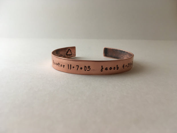 recycled copper mantra cuff personalized phrase hand stamped