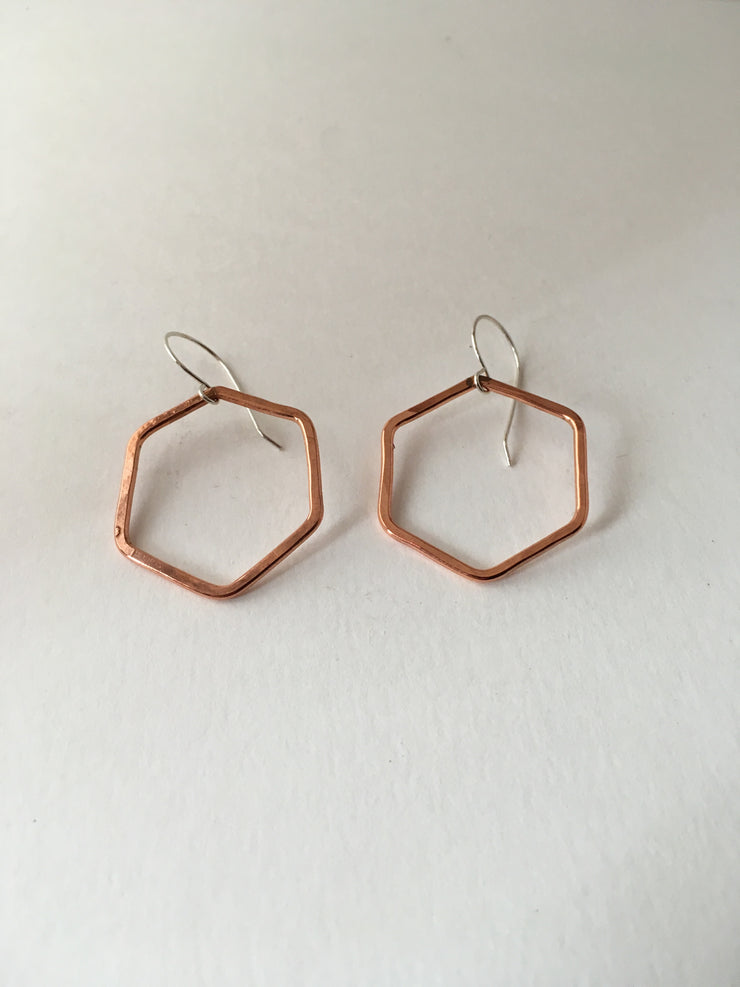 recycled copper hexagon earrings sterling silver simple wealth