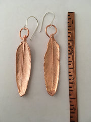 recycled copper feather earrings electroformed simple wealth art made in usa