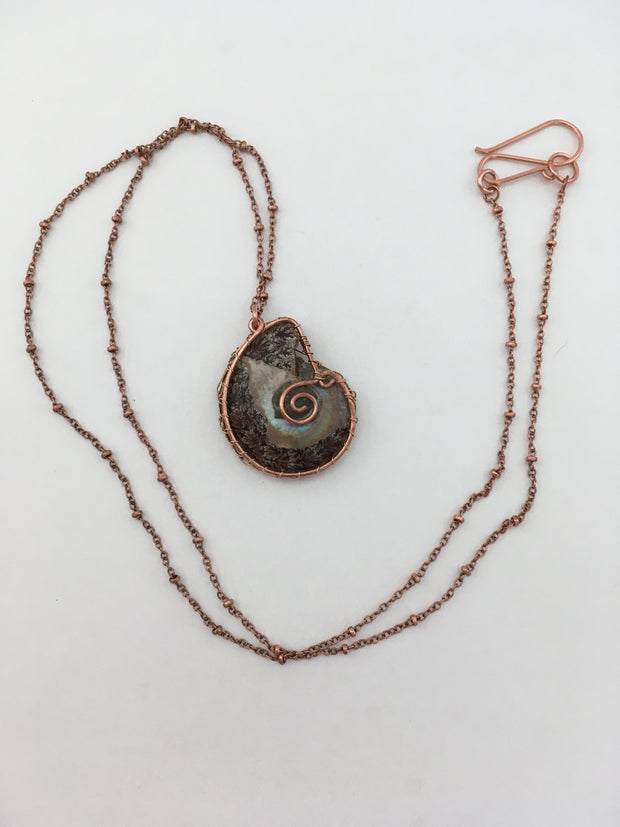ammonite fossil wire woven pendant weave opal oak leaf recycled copper simple wealth art
