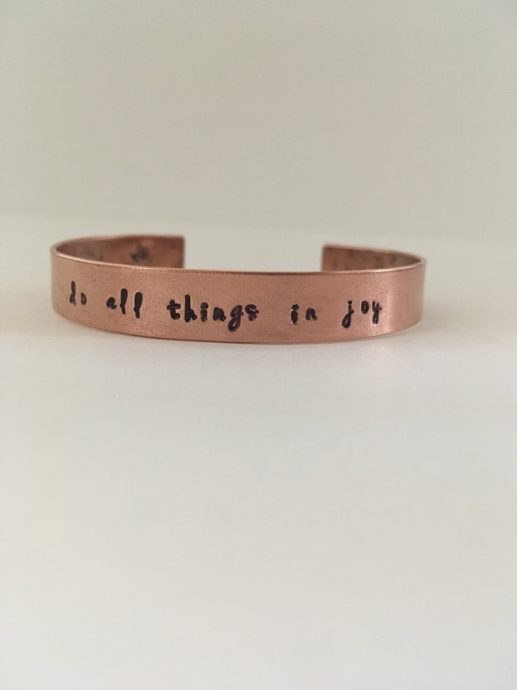 do all things in joy recycled copper mantra bracelet simple wealth