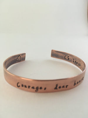 courage dear heart c. s. lewis quote recycled copper mantra cuff bracelet simple wealth