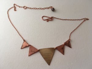five triangle bunting necklace recycled copper drum cymbal simple wealth