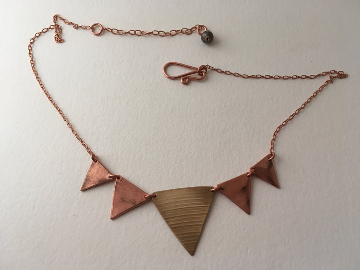 five triangle bunting necklace recycled copper large drum cymbal simple wealth