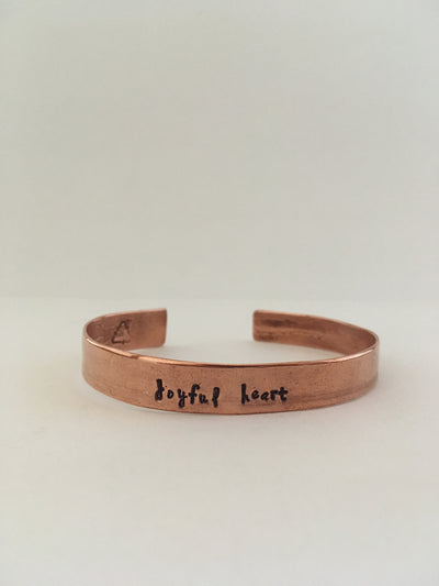 joyful heart mantra recycled copper affirmation bracelet upcycled plumbing pipe cuff