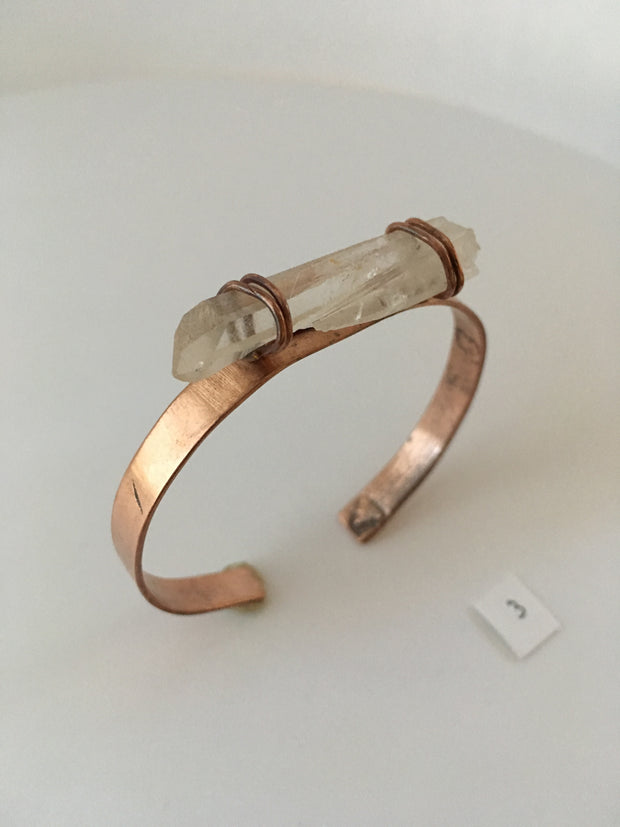 Quartz Point and Recycled Copper Cuff Bracelet
