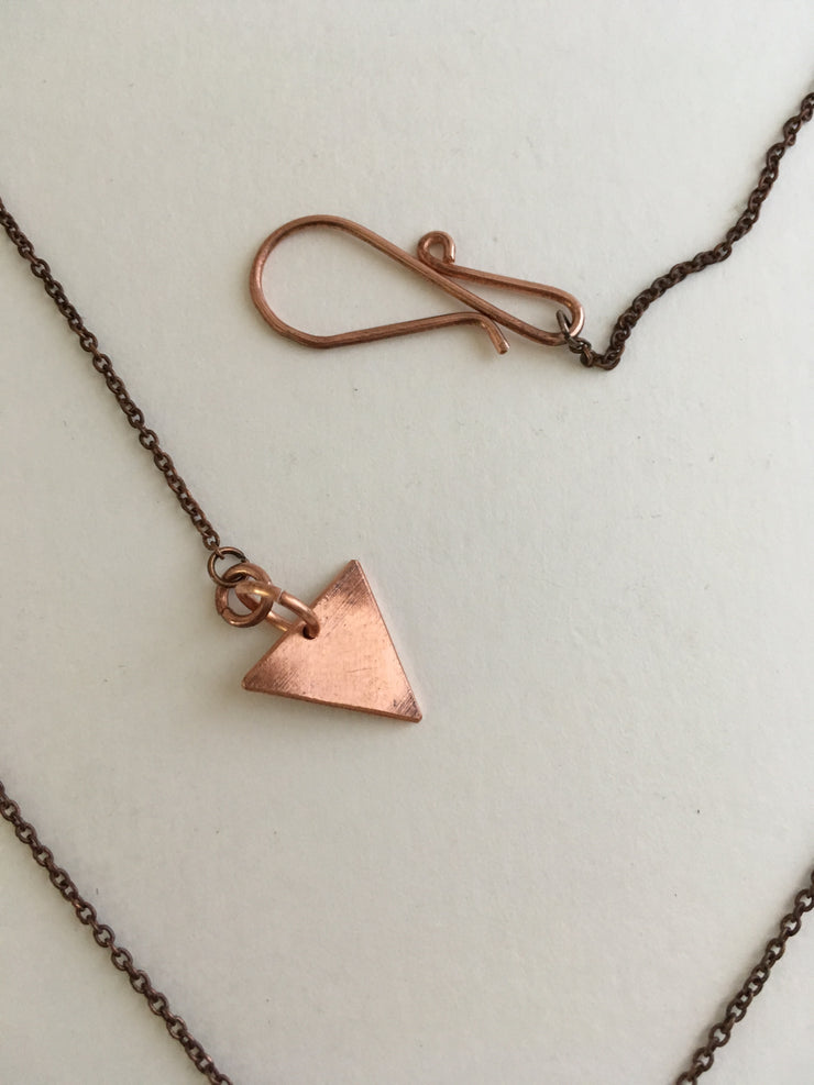 recycled copper fringe electrical wire upcycle triangle clasp simple wealth