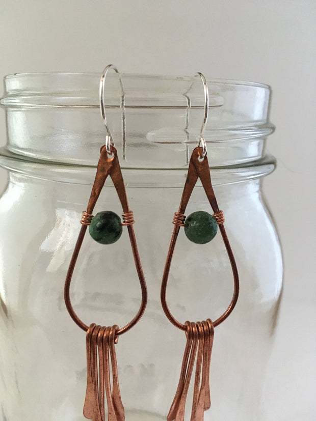 ruby zoisite recycled copper gemstone drop earrings fringe simple wealth