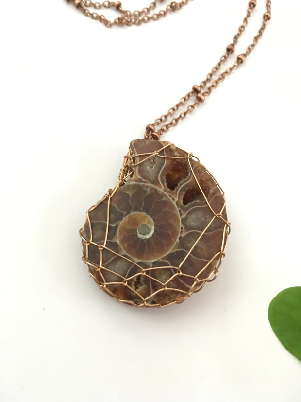 ammonite fossil wire woven pendant wire weave opal oak leaf recycled copper simple wealth art