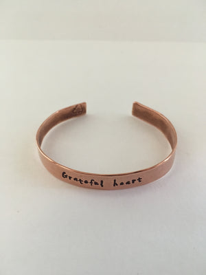 grateful heart recycled copper mantra cuff upcycled plumbing pipe bracelet