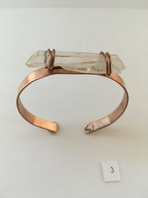 quartz point recycled copper cuff upcycled plumbing pipe simple wealth