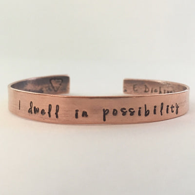 I dwell in possibility Recycled Copper mantra cuff upcycled plumbing pipe affirmation bracelet