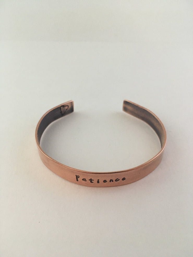 patience recycled copper mantra cuff upcycled plumbing pipe affirmation cuff