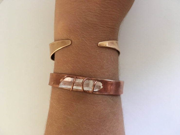quartz point recycled copper cuff upcycled plumbing pipe simple wealth art