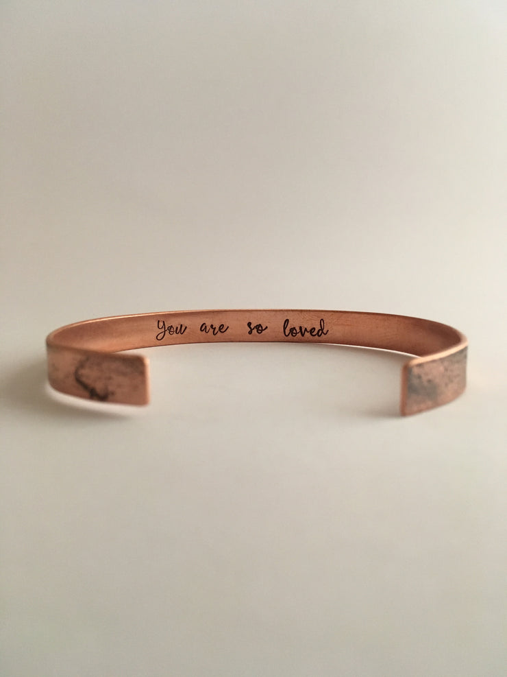 you are so loved recycled copper mantra cuff bracelet secret message mantra band