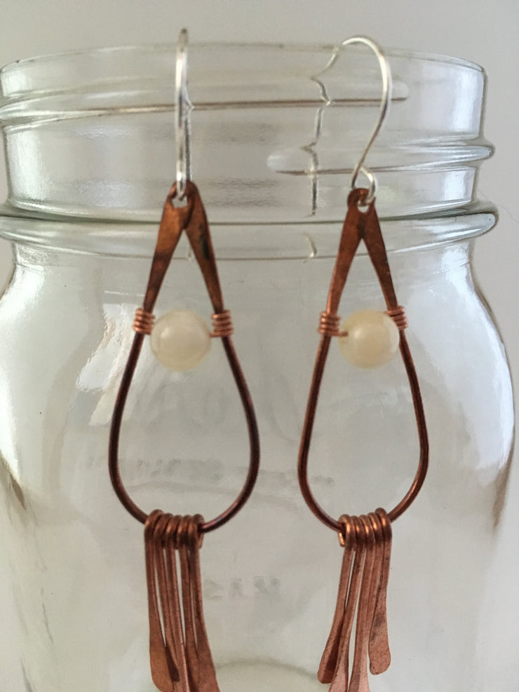 honey calcite recycled copper gemstone drop earrings fringe simple wealth