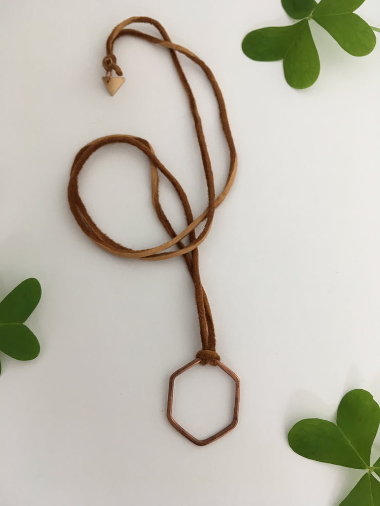 recycled copper electrical wire hexagon necklace simple wealth art