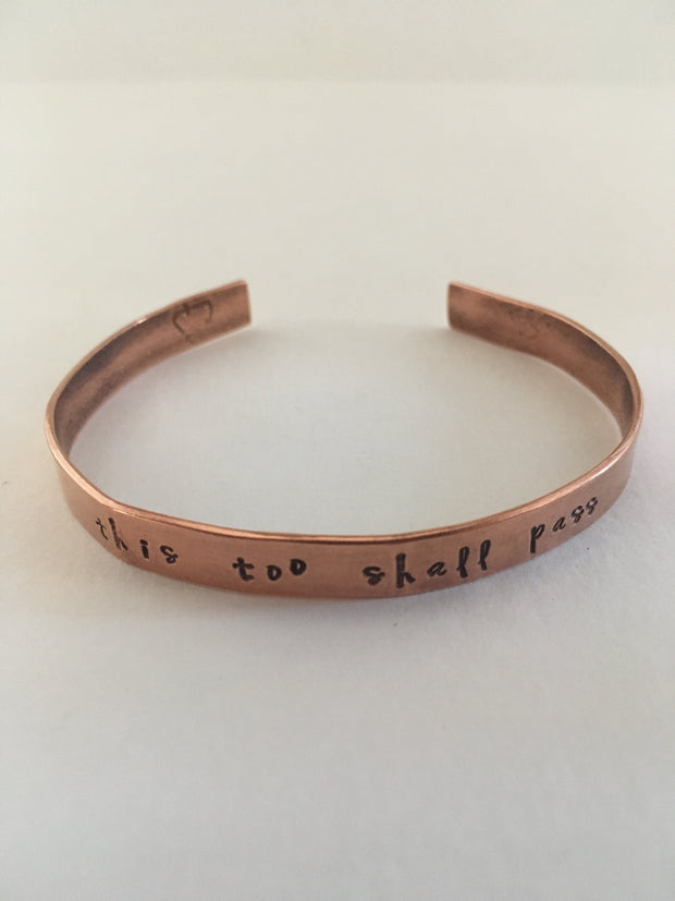 this too shall pass recycled copper manta cuff affirmation bracelet simple wealth art