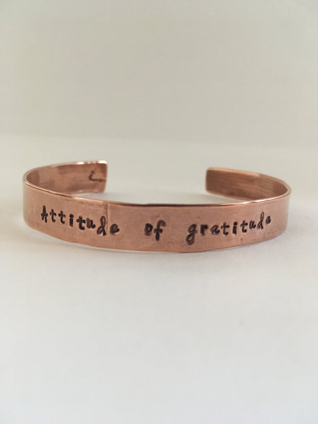 attitude of grattitude hand stamped recycled copper mantra bracelet