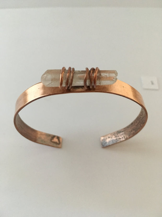 recycled copper crystal cuff simple wealth art arkansas quartz bracelet