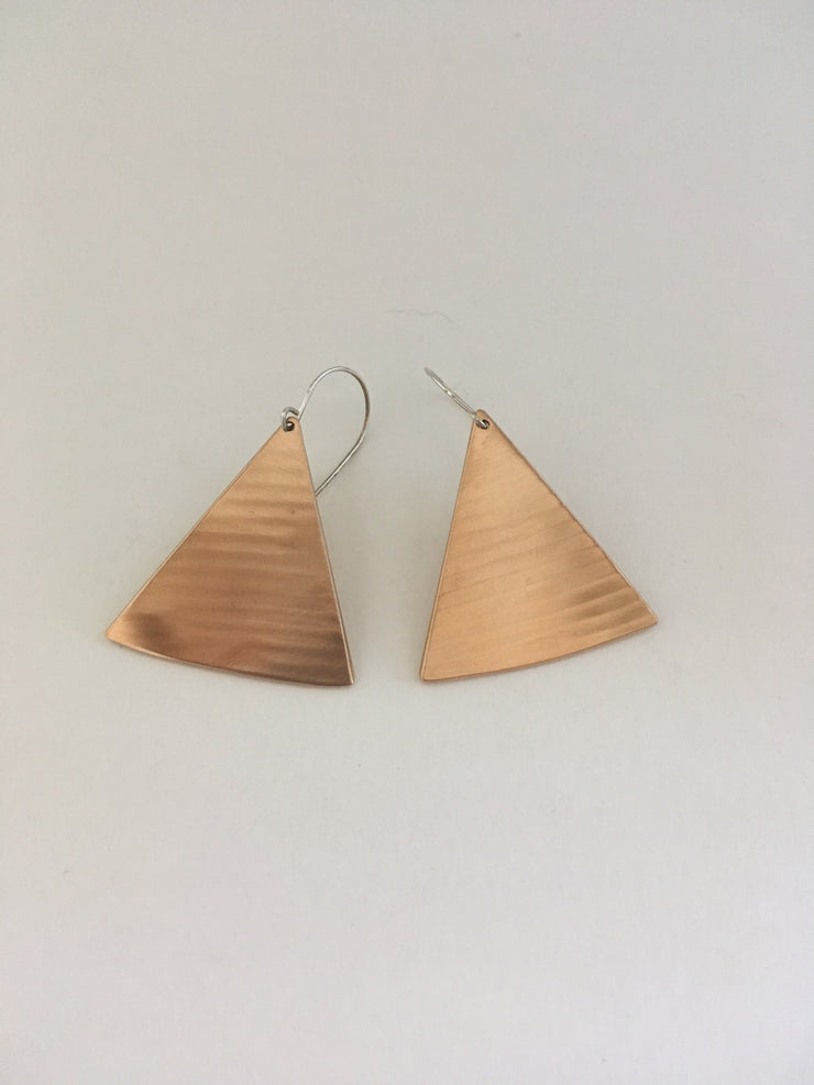 recycled drum cymbal triangle earrings brass upcycled crash cymbal simple wealth art