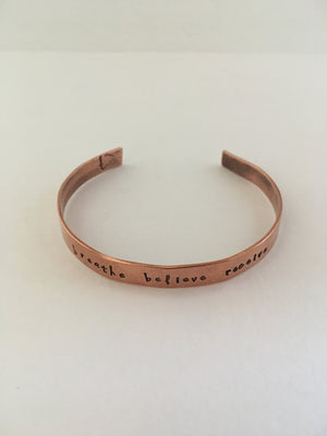 breathe believe receive hand stamped recycled copper mantra cuff