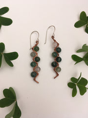 moss agate recycled copper electrical wire zig zag shape copper jewelery wire wrapped made in usa simple wealth art