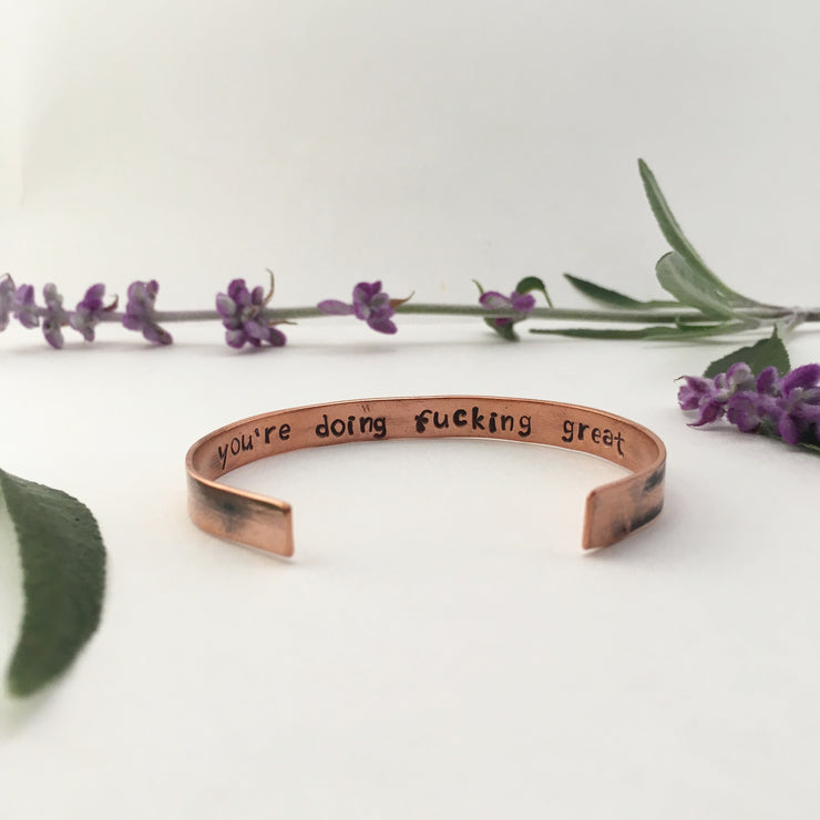 You're doing fucking great affirmation cuff recycled copper plumbing pipe made in usa simple wealth art