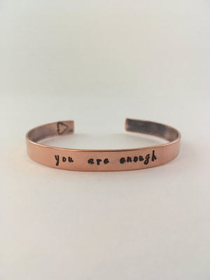 you are enough recycled copper mantra cuff upcycled plumbing pipe affirmation bracelet simple wealth art