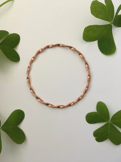 recycled copper electrical wire twisted bangle bracelet mantra band simple wealth art made in usa