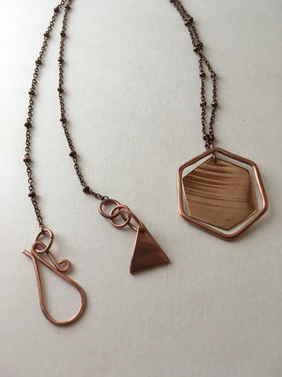 recycled copper upcycled brass drum cymbal double hexagon necklace simple wealth