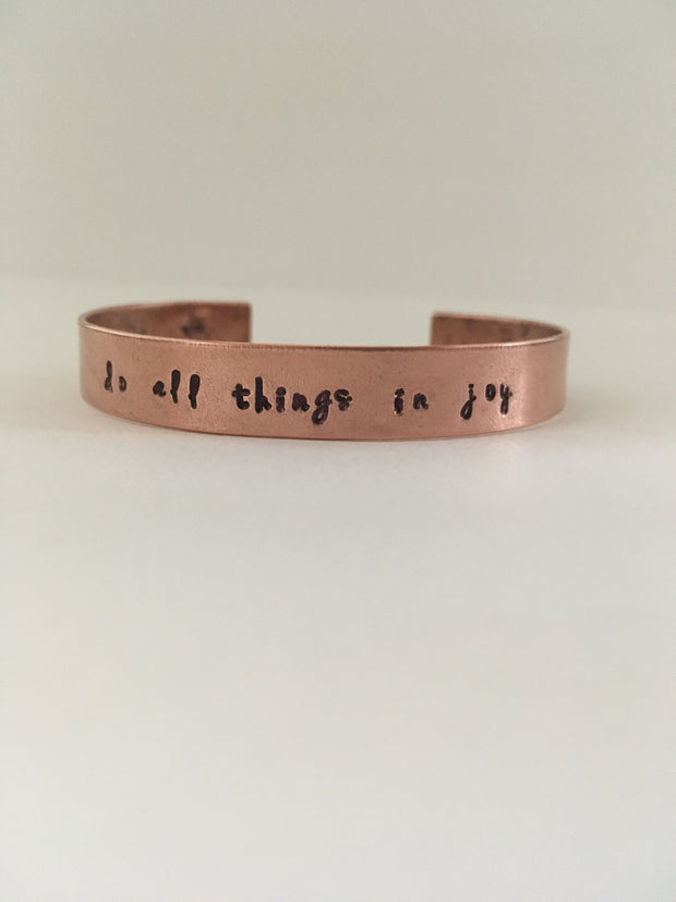 recycled copper do all things in joy mantra cuff upcycled plumbing pipe
