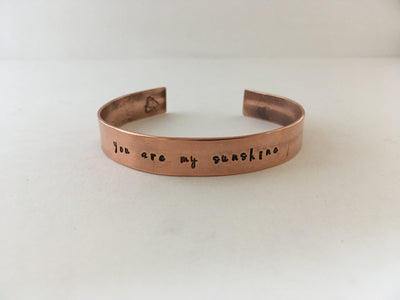you are my sunshine recycled copper affirmation cuff mantra bracelet