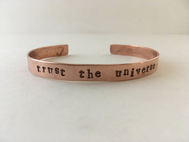 trust the universe recycled copper affirmation cuff mantra bracelet