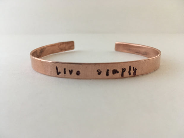 live simply recycled copper affirmation bracelet