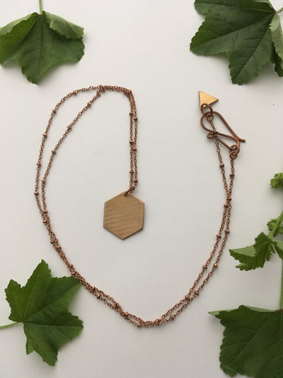 hexagon necklace made from brass drum cymbal simple wealth art