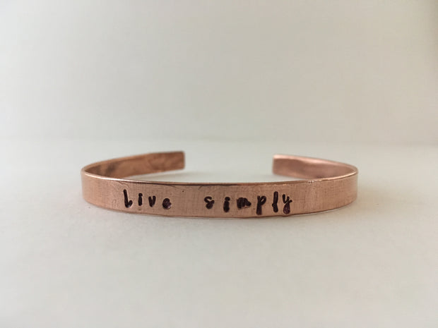 live simply recycled copper cuff