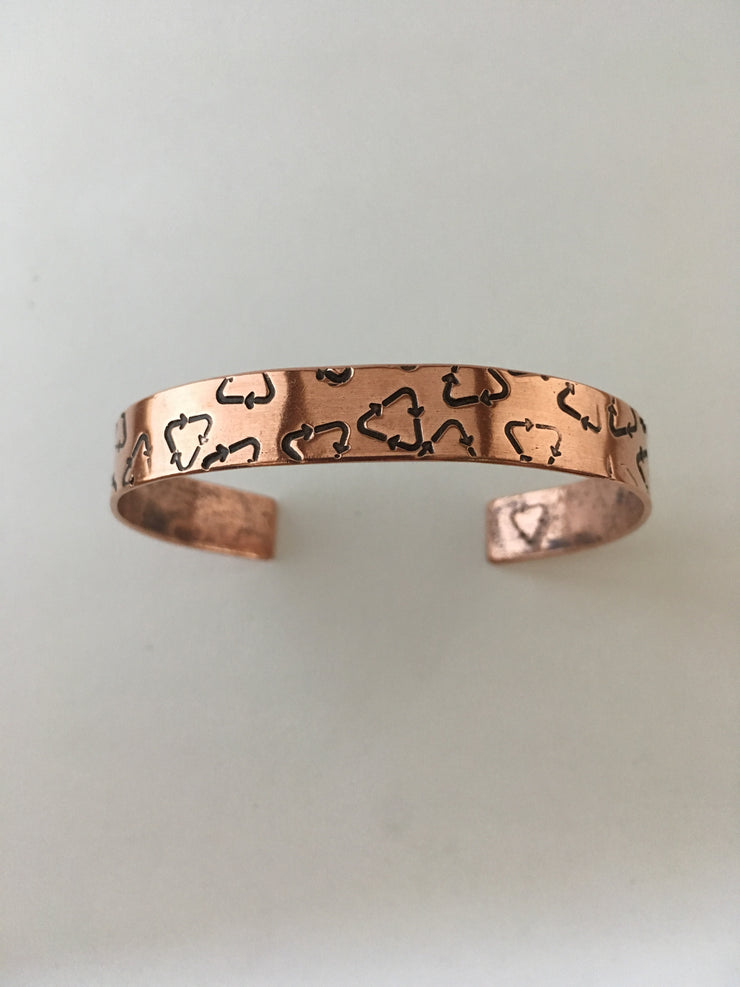 recycle symbol recycled copper affirmation cuff mantra bracelet