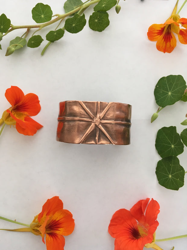 fold formed thick recycled copper cuff simple wealth art