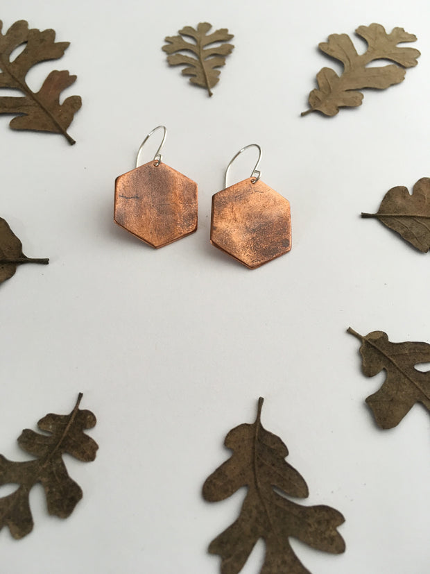 copper hexagon recycled pipe earrings upcycle simple wealth art