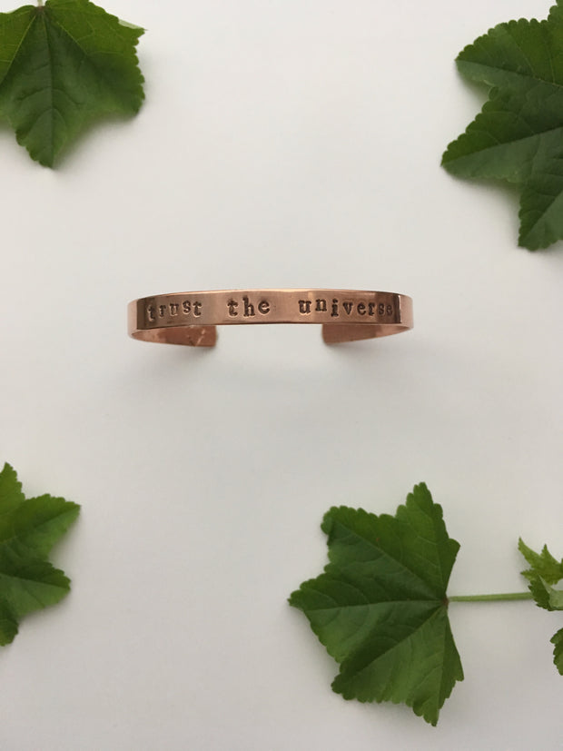 trust the universe recycled copper affirmation cuff mantra band made in usa simple wealth art