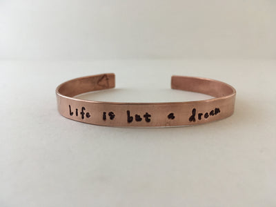 trulife is but a dream recycled copper affirmation cuff mantra bracelet