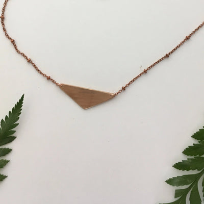 Isosceles triangle necklace recycled brass drum cymbal upcycle simple wealth art