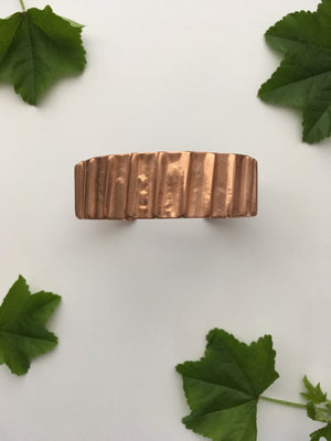 Vertical Lines Upcycled Copper Bracelet