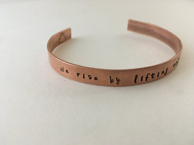 we rise by lifting others recycled copper affirmation cuff mantra bracelet