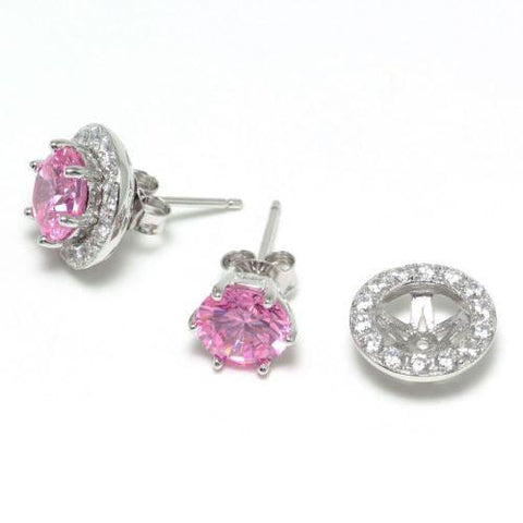 Pink Zircon CZ Sterling Silver Stud Earrings