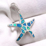 Star 925 Sterling Silver Fire Australian Opal Gemstones Jewelry Pendant Necklace