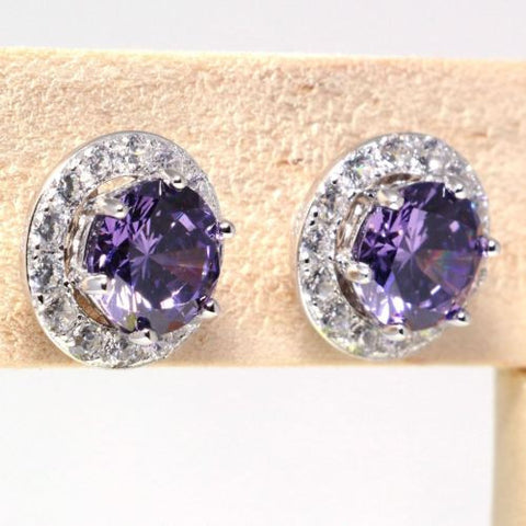 Purple Zircon CZ Sterling Silver Stud Earrings