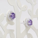 925 Sterling Silver Purple Cubic Zirconia Gemstones Stud Earrings